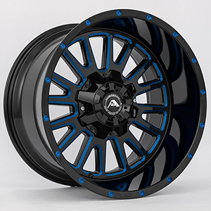 American Offroad A105 Gloss Black W/ Blue Milled Spokes