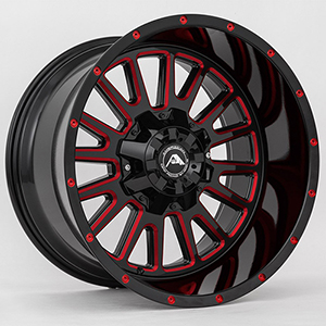 American Offroad A105 Gloss Black W/ Red Milled Spokes