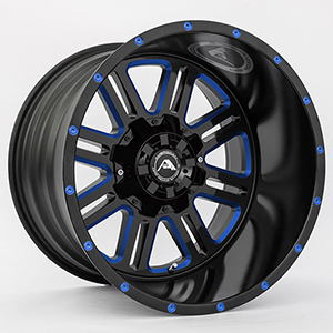 American Offroad A106 Gloss Black W/ Blue Milled Spokes