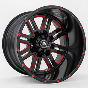 American Offroad A106 Gloss Black W/ Red Milled Spokes