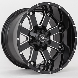 American Offroad A108 Gloss Black W/ Milled Spokes