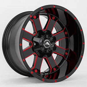 American Offroad A108 Gloss Black W/ Red Milled Spokes