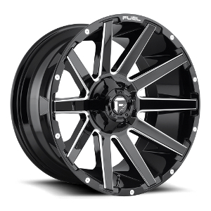 Fuel Contra D615 Gloss Black W/ Milled Spokes