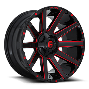 Fuel Contra D643 Gloss Black W/ Red Milled Spokes