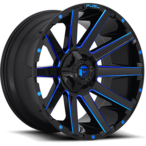 Fuel Contra D644 Gloss Black W/ Blue Milled Spokes