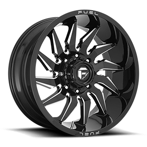 Fuel Saber D744 Gloss Black W/ Milled Spokes