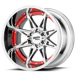 Moto Metal MO993 Hydra Chrome W/ Red Undercut