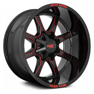 Moto Metal MO970 Gloss Black W/ Red Milled Spokes