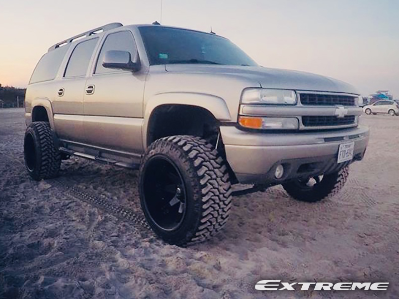 2003 chevrolet suburban 1500 22x14 fuel offroad wheels 35x12 5x22 dakar tires rough country 6 inch non torsion drop suspension lift system 2003 chevrolet suburban 1500 22x14