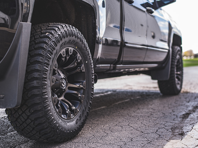 2016 Chevy Silverado With2 Inch Leveling Kit Fuel Offroad Vapor 18x9  12 Offset 18 By 9 Inch Wide Wheel Atturo Trail Blade Xt 33x12 50r18 Tire 0