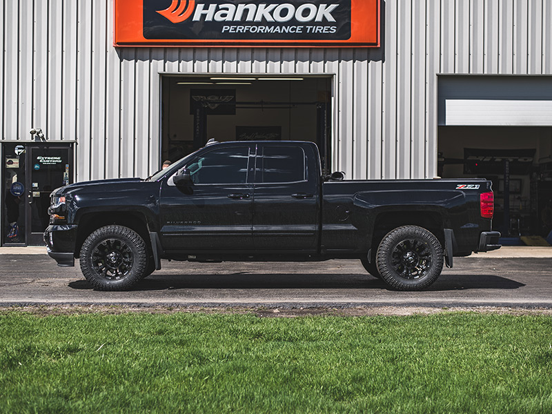 2016 Chevy Silverado With2 Inch Leveling Kit Fuel Offroad Vapor 18x9  12 Offset 18 By 9 Inch Wide Wheel Atturo Trail Blade Xt 33x12 50r18 Tire