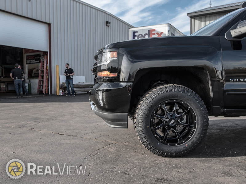 2017 Chevy Silverado 1500 2 5 Inch Leveling Kit Rough Country Moto Metal 970 Mo970bm 18x10 Wide Wheel  24 Offset Atturo Trail Blade Xt 285 65r18 Tire