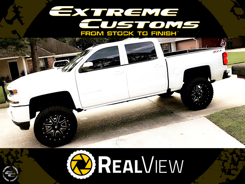 2017 Chevy Silverado 1500 With 6 Inch Rough Country Lift Kit Fuel Offroad Maverick D610 20x10  12 Offset 20 By 10 Inch Wide Wheel Toyo Open Country Rt 35x12 5r20 Tire