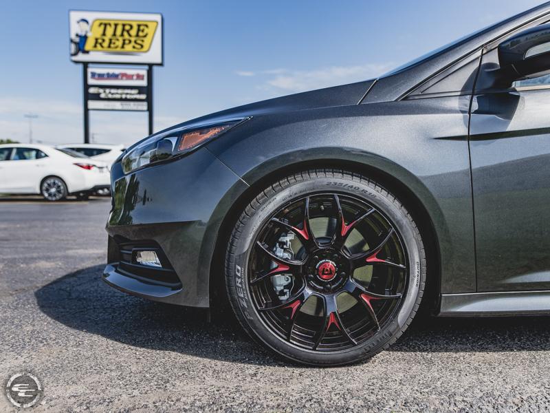 2017 Ford Focus Motegi Racing Mr126b 18x8 18 By 8 Inch Wide Wheel +40 Offset Custom Tinted Red Wheel Pirelli P Zero All Season 235 40r18 Tire 0