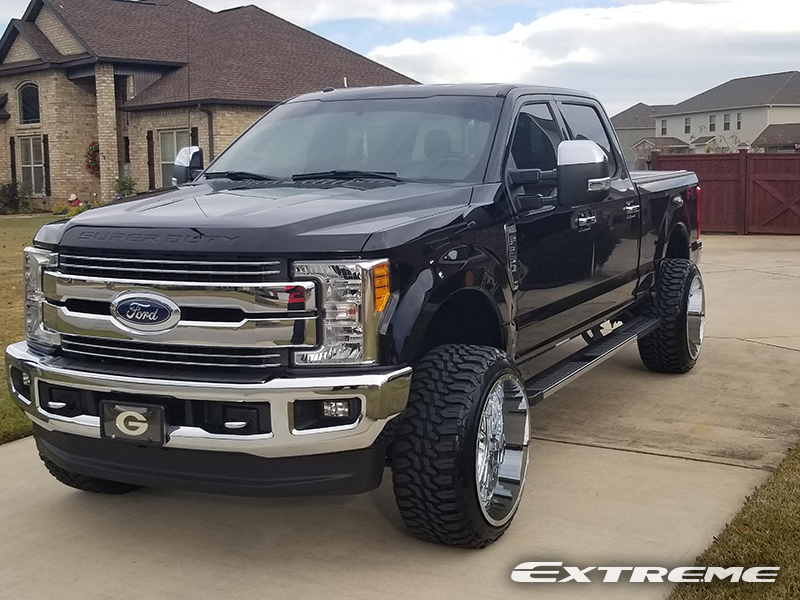 ford tis 24x14 f250 leveled 35 250 amp tires forged wheels inch kit leveling super duty lariat terrain mt attack